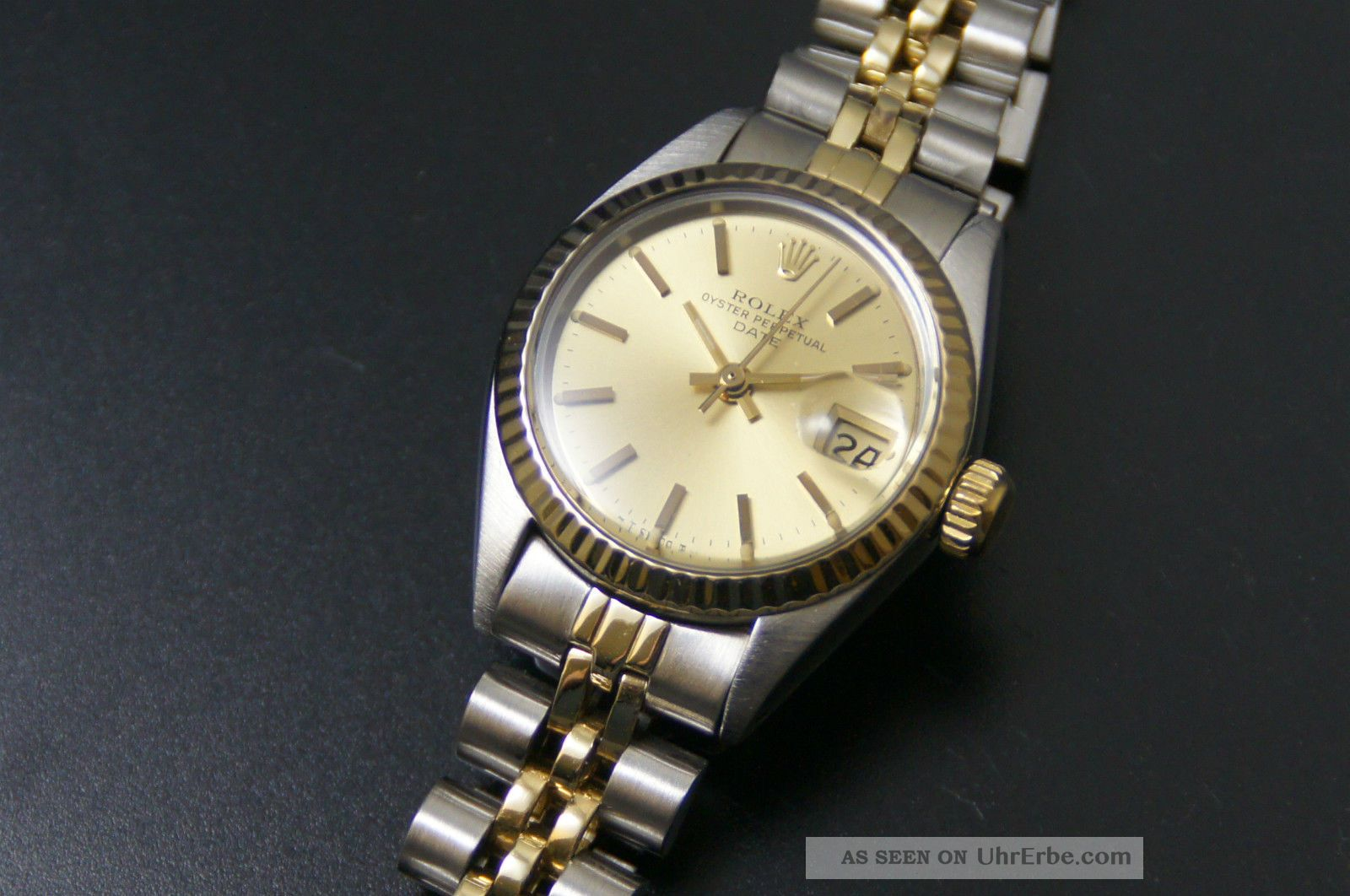 rolex oyster perpetual date lady damenuhr stahl gold ref 6917 cal 2030. Black Bedroom Furniture Sets. Home Design Ideas