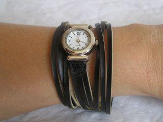 Schmuck Uhr Armbanduhr Leder Mode Fashion Rockabilly Vintage Mode Tiki Hippie Bild