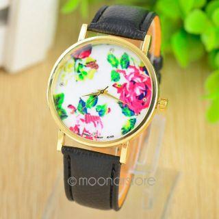 Vintage Geneva Blumen Rosen Quarz Armbanduhr Kunstleder Damen Mädchen Geschenk Bild