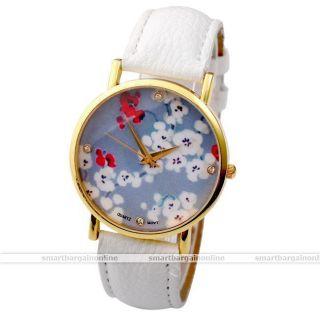 Weiß Kunstleder Damen Blumen Armbanduhr Quarzuhr Quaz Armband Uhr Mit Strass Bild