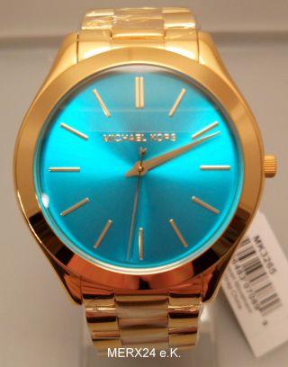 Michael Kors Uhr Mk3265 Damenuhr Türkis - Blau Edelstahl Slim Armbanduhr Bild