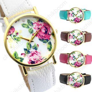 Retro Vintage Rosen Blume Damen Armbanduhr Lederarmband Basel - Stil Quarzuhr Bild