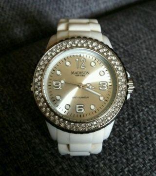 Armbanduhr Damen Weiß Strass Silikon Madison York Bild