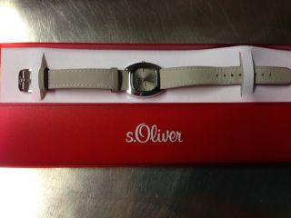 S.  Oliver Uhr Damenuhr Analog Lederband Grau Mit Box/hülle Bild