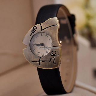 Retro Fishbone Zifferblatt - Design Quarz - Mädchen - Horoskop - Armbanduhr Frauen Bild