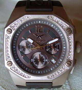 Carrera Damen - Chronograph Mit Silikonband Und Zirkonia Rosefarben Wie Bild
