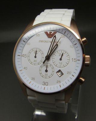 Emporio Armani Chronograph Ar5919 Unisex - Uhr Weiß/rosegold Bild