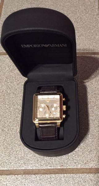 Emporio Armani Herrenuhr Ar1625,  Gold,  Braun,  Leder,  Ovp459€ Bild