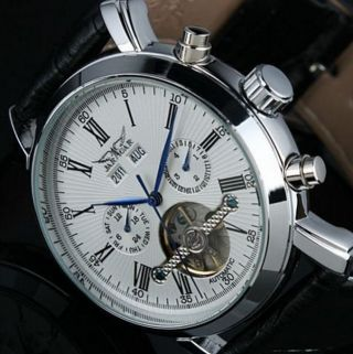 Elegante Herrenuhr Automatik Uhr Leder Vollkalender A540 Bild