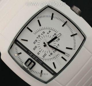 Diesel Herrenuhr / Herren Sport Uhr Silikon Weiß Silber Leicht Dz1321 Bild