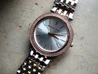 Michael Kors 3203 Damen Uhr,  Verg.  Stahlgehäuse/armband,  Datum,  Neuwertig Bild