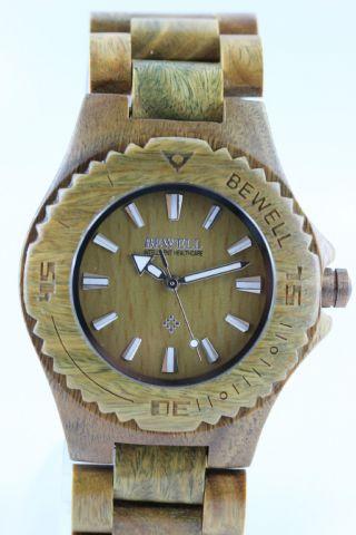 Bewell Holzuhr,  Damenuhr,  Herrenuhr,  Grünes Sandelholz,  Armbanduhr,  Top Geschenk Bild