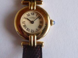 Cartier Le Must De Cartier Damenuhr Vermeil Gold 925 Sterling Silber Bild