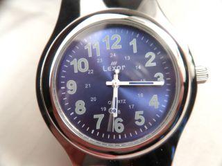 Uhr Herrenarmbanduhr Lexor Quartz Edelstahl Chrom Silber Blau Funktioniert Top Bild