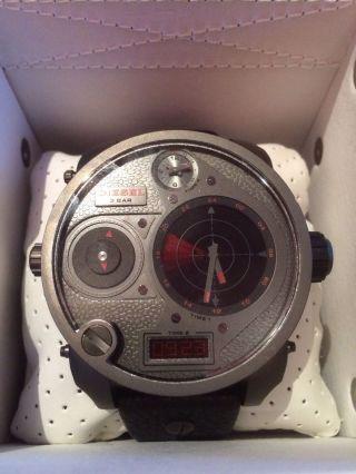 Diesel Mr.  Dady Armbanduhr Schwarz Lederarmband Rdr 4 Zeitzonen Dz7297 Bild