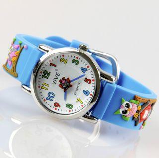 Kinder Mädchen Vive Lernuhr Armband Uhr Silikon Watch Analog Blumen Eule 23 Bild