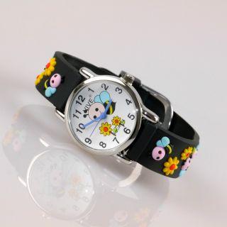 Kinder Vive Lernuhr Armband Uhr Silikon Watch Analog Schwarz Biene Blume 78 Bild