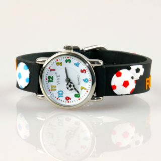 Kinder Vive Lernuhr Armband Uhr Silikon Watch Analog Schwarz Fussball 66 Bild