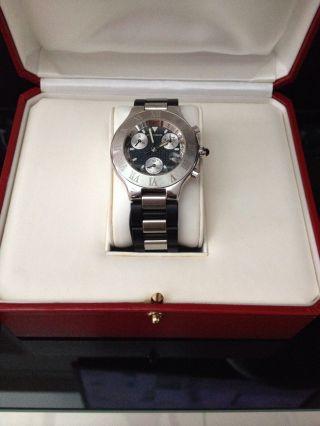 Cartier Chronograph 21 Quarz Edelstahl U.  Kautschuk Armbanduhr Bild