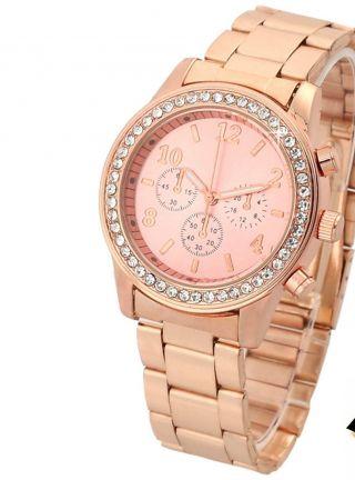 Armbanduhr Chronograf Edelstahl Damen Glitzer Strass Uhr Rose Gold Bild
