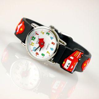 Kinder Vive Lernuhr Armband Uhr Silikon Watch Analog Schwarz Auto Car 77 Bild