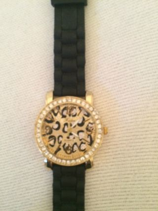 Uhr Armbanduhr Schwarz / Gold / Leoprint Bild