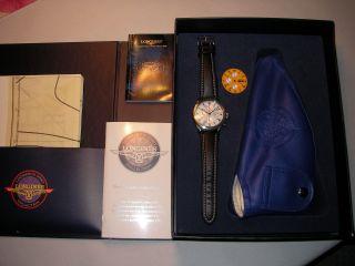 Longines Lindbergh Automatic Chronograph In Ovp Mit Fliegerhaube Bild