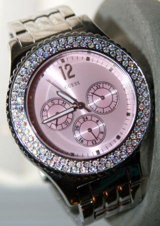 Guess Quarzuhr W11502l1 Ladies Bracelet Watch Stahl Pink Wie Bild