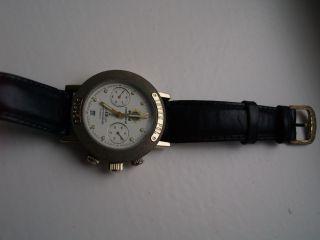 Herren Armbanduhr Poljot Interpol 1995 Chronograph Schwarzes Lederarmband Bild
