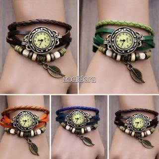 Mode Retro Damenuhr Quarz Uhr Armbanduhr Uhren Leder Spangenuhr Wrist Watch Z00d Bild