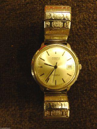 Porta Automatic 25 Jewels Incabloc Herren - Armbanduhr 25 Jahre Thyssen Retro Bild