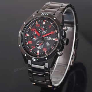 Alle Schwarz Edelstahl Uhr Herren Armbanduhr Bild