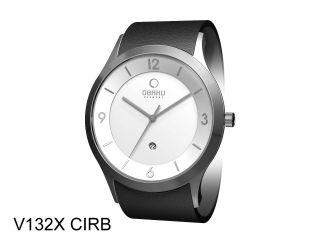 Obaku Harmony Armbanduhr V132xcirb Lederband Schwarz Dänisches Design Mit Datum Bild