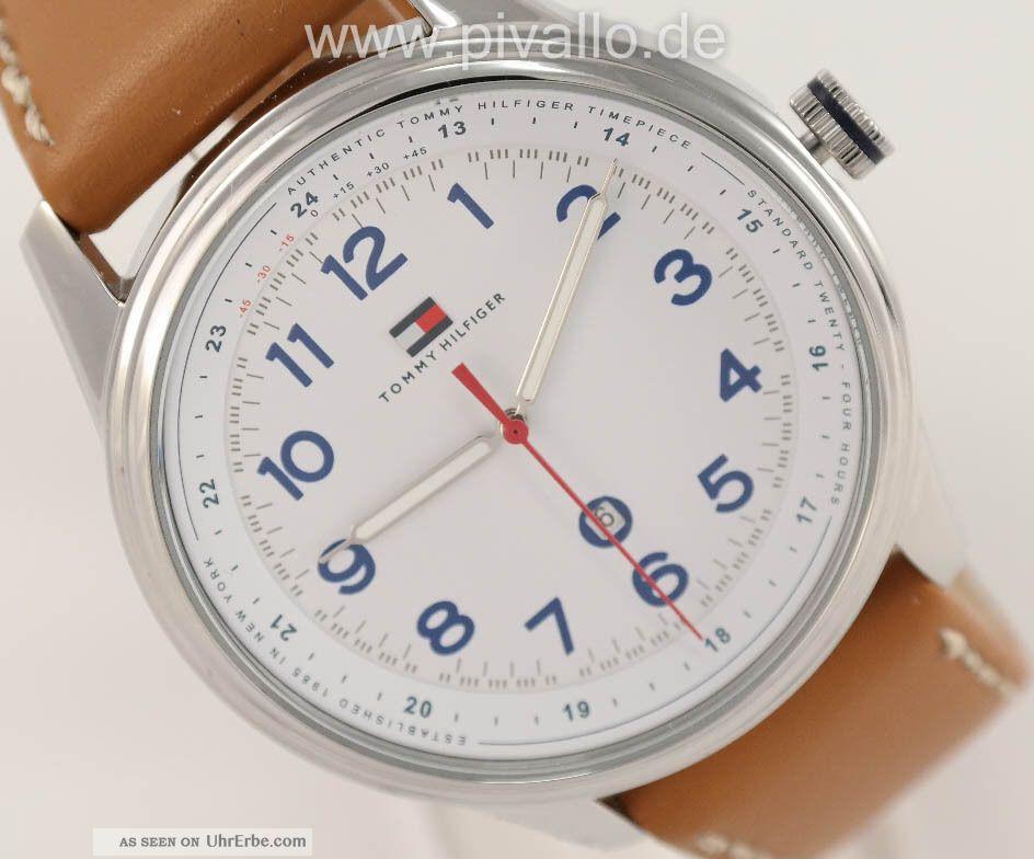 Tommy Hilfiger Herrenuhr / Herren Uhr Leder Datum Bruan Blau Weiß 1710311 Armbanduhren Bild