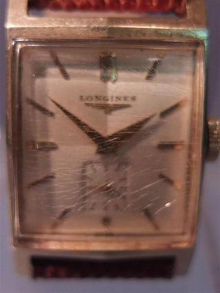 Schöne ältere Armbanduhr,  Longines,  585er Gelbgold,  Art Deco,  Wohl Um 1930/50 Bild