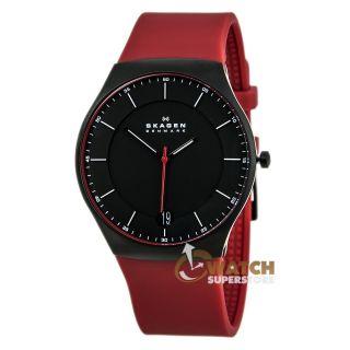 Herren Armbanduhr Skagen Balder Aktiv Schwarz Rotes Silikonband Titanium Skw6073 Bild