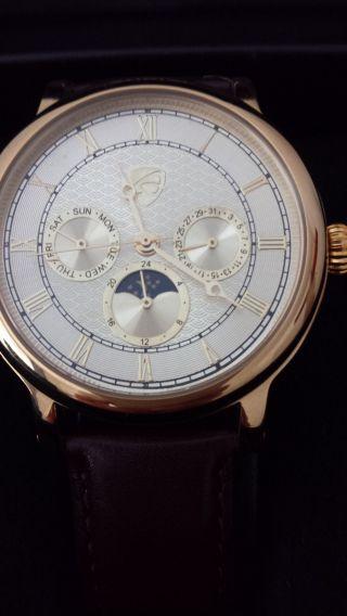 Auriol Automatikuhr,  Datum Mondphase Lederarmband Bild