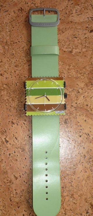 S.  T.  A.  M.  P.  S Komplette Uhr Mit Leder - Armband,  Lind - Grüntöne,  Neuwertig Bild