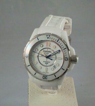 Chanel J12 Marine Keramik Uhr Weiß Mit Kautschukband, Bild