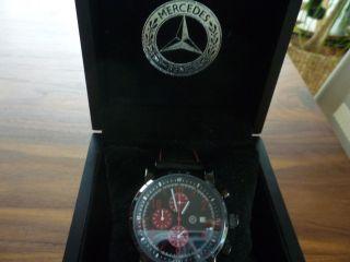 Mercedes Benz Uhr - - Chronograph - Herrenuhr - Lederarmband Schwarz Bild
