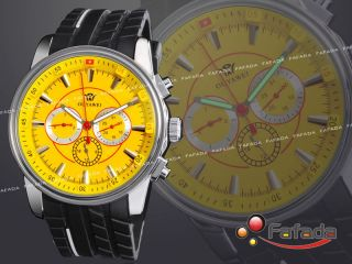 Ouyawei Mechanische Automatik Armbanduhr Herrenuhr Herren Armband Uhr Gelb Gummi Bild