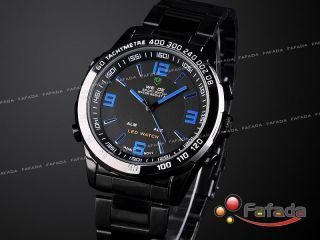 Weide Schwarz Led Armbanduhr Analog Digital Herrenuhr Bild