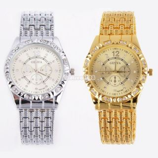 Fashion Lady Frauen Luxusgold Bling Quartz Klassische Kristall Datum Armbanduhr Bild