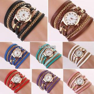 Retro Leather Bracelet Watch Lady Woman Synthetic Leather Quartz Wrist Watch Z00 Bild