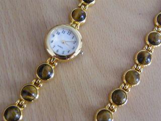 Damen Armband Und Uhr Tigerauge Bild
