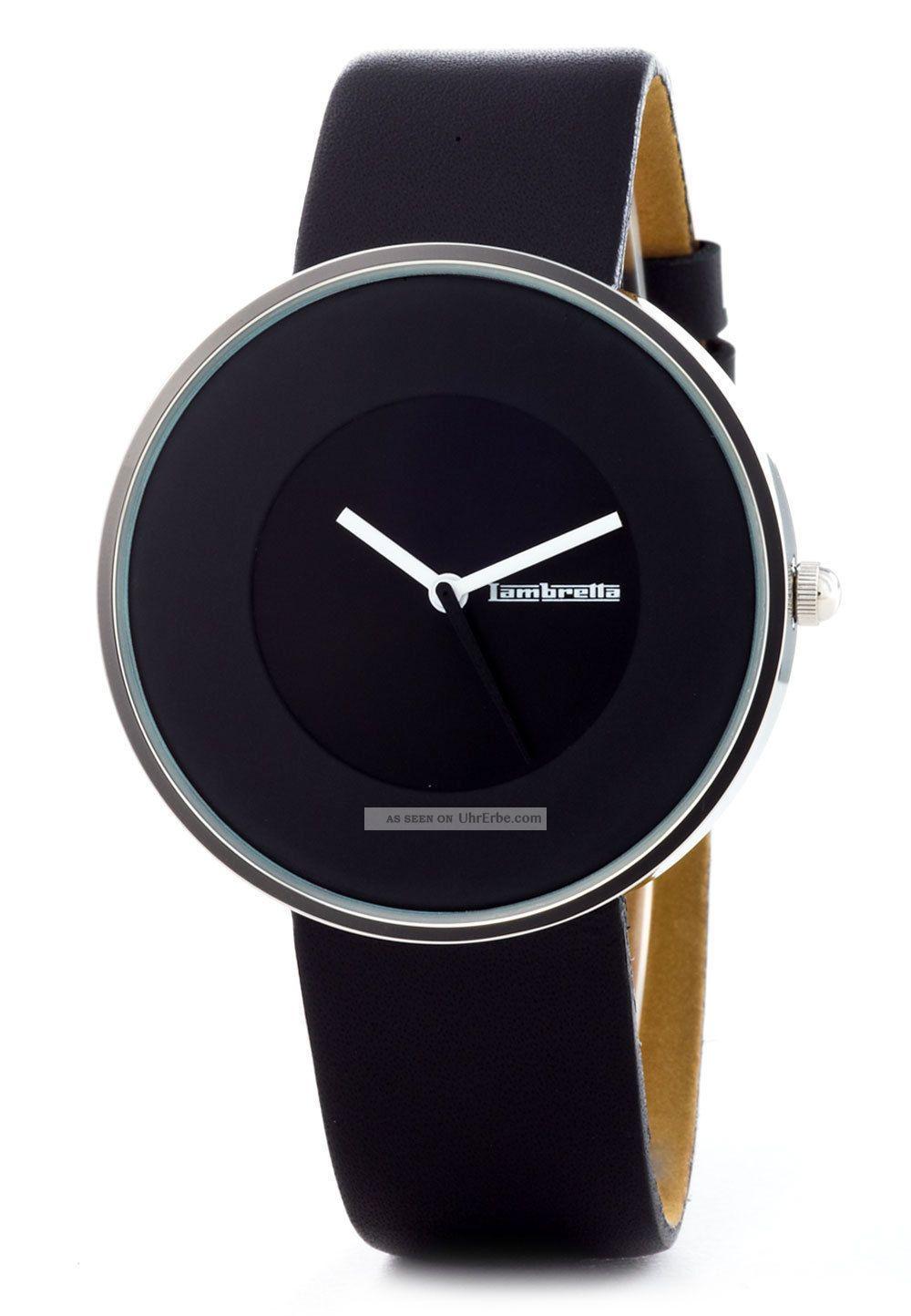 Lambretta Damen Uhr Cielo Lederarmband Schwarz Silbern Armbanduhren Bild