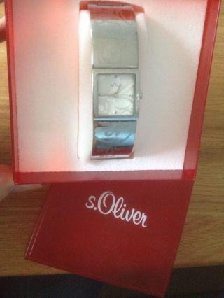 Damenuhr,  S.  Oliver,  Silberfarben,  Ornamente,  Neue Batterie Bild