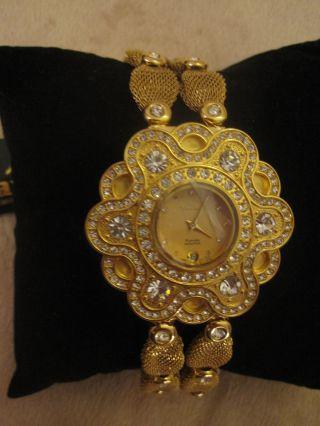 Laurine Damen Uhr Vergoldet 18k Kristalle Ovp Seltene Designer Bild