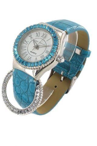 Nele Fortados Damen Strassuhr Uhr Armbanduhr Pu - Leder Blau B - Ware Bild
