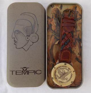 Tempic Dau Hau Armbanduhr /sammlerst.  / Kupfer GehÄuse / Adler /lederband Bild